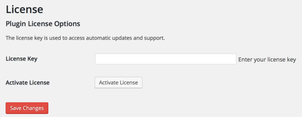 Screenshot - License manager, WP Admin UI